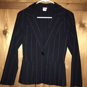 Blazer (black with pink pin stripe stitching)